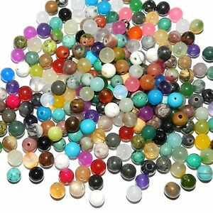 GR9911 Assorted Multiple Color Mixed 6mm Round Gemstone Beads 1-ounce