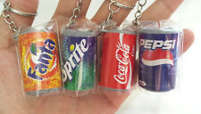 Lot4 Beverages Coca Cola Pepsi Fanta Sprite Soft Drinks Keychain Mini Miniature
