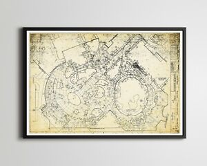 "Vintage MGM Studios Mickey Mouse Plaza Blueprint POSTER! (up to 24"" x 36"") - Art"
