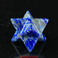 1.5''Natural lapis lazuli merkaba star skull quartz crystal gem carved reiki 1pc