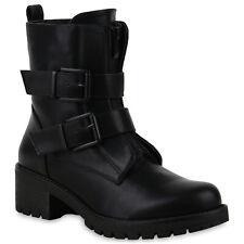Damen Stiefeletten Biker Boots Warm Gefütterte Stiefel   825191 Schuhe