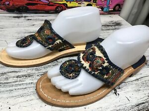 Jack Rogers Blue Paisley Navajo Hampton Flip Flop Thong Sandals Womens 9 Slides
