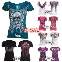 Womens Punk Rock Skull Printed Shirts Fashion Cool T-shirt Plus Size Tops Gothic