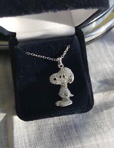 "Danbury Mint Snoopy Pendant w/Swarovski Crystals NIB Silver 17"" adjustable chain"
