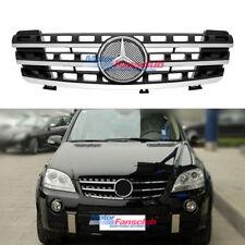 Für Mercedes Benz ML Klasse W164 2005-08 3 Zaun Schwarz Chrom Kühlergrill Grille