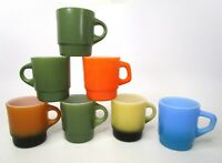 Fire King Anchor Hocking Color Stacking Glass Coffee C/D Handle 7 Mugs Cups Lot