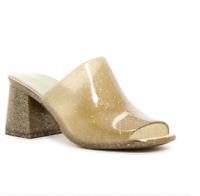 Jeffrey Campbell Womens Shoes Petra Jelly Block Heel Mules Gold Glitter (SH53)
