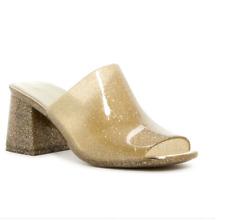708b406223b8 Jeffrey Campbell Womens Shoes Petra Jelly Block Heel Mules Gold Glitter  (SH53)