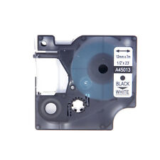 1PK Black on White Label Tape 12mm Compatible For DYMO D1 45013 LabelManager