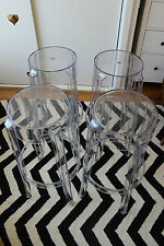 Set of 4 Charles Ghost Stools By Philippe Starck from Kartell GENUINE ORIGINAL