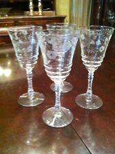 4- ETCHED WINE GLASSES- VINTAGE