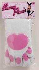 Bunny Rabbit Mitts Soft White Velour Padded Costume Gloves W/ Pink Vinyl Accent