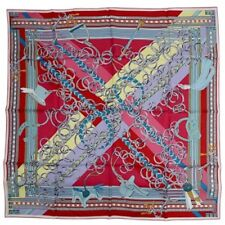 Hermes Carre 90 Scarf Stole Silk 100% BRIDES ET GRIS GRIS Chain Pattern Auth