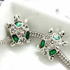 New 1 Silver 7 GREEN coloured tortoise European Charm Bead fr41