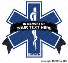 """Star of Life Custom Memorial 3"""" Reflective Decal In Memory Fallen EMT Paramedic"""