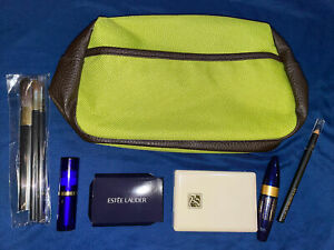 New Estée Lauder Green Make Up Bag + Eyeshadow Blush Lipstick Mascara Brush Penc