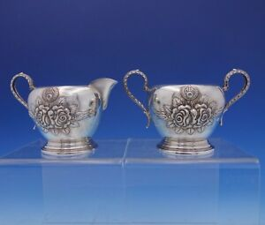 Rose by Stieff Sterling Silver Sugar and Creamer Set 2pc Hand Chased (#3149)