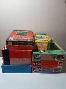 Vintage LOT 8 PUZZLE Jigsaw Guild Whitman Tuco 29cents Landscape 200-450 Pc