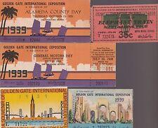 San Francisco GOLDEN GATE EXPO Lot of 5 Different 1939 Souvenir Tickets