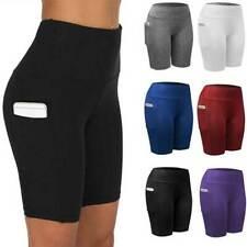 Women High Waist Biker Athletic Yoga Shorts Workout Gym Tummy Control Running