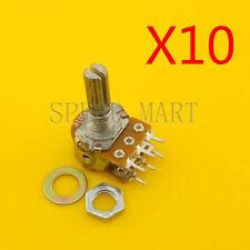 10 pcs B100K Ohm Dual Linear Rotary Potentiometer Pot 20mm Shaft 6 Pins