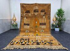 """Moroccan Boujaad  Handmade Rug 5'7""""x9'3"""" Patchwork Berber Orange Black Wool  Rug"""