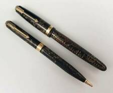 1942 Parker Major Vacumatic Fountain Pen & Pencil Set Golden Pearl Vacuum Filler