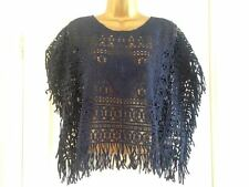 BNWT NEXT Navy Crochet Fringed Kaftan Beach Cover Up Size S Small RRP £32
