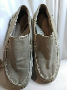 Crocs Walu Men Size 8 Beige Canvas Slip On Khaki distressed  Loafer Shoes