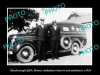 OLD LARGE HISTORIC PHOTO OF MARYBOROUGH QLD, THE DISTRICT AMBULANCE CAR c1938