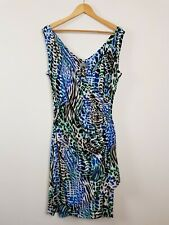 Frontpage Multi-coloured Animal Print Wrap Dress Women's Size 16 Ruched Party