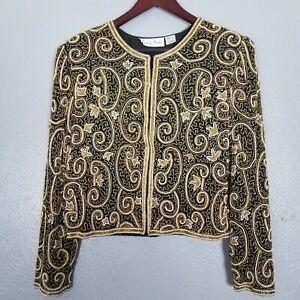 Vintage Black and Gold 100% Silk  Beaded Embellished Jacket by Laurence Kazar