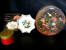 LOT 3 PORCELAIN BIRD OCTAGON COLLECTOR PLATE INSECT DISH & METAL TINS NORSE GOLD