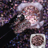 Rose Gold Flakes Holographic Pigment Powder Galaxy Holo Nail Art Sequins