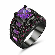 5.80/ct Purple Amethyst Gems Wedding Ring Women's Black Platinum Plated Size 8