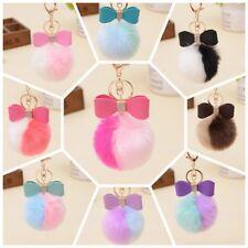 Bling Bow Pom Pom Keychain, Rabbit Fur Ball Bag Purse Charm Handbag Accessory