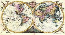 POSTER -- Vintage Doppio Emisfero Mappa del mondo 1780 (Picture EVO ART)