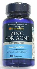 2 BOTTLES Zinc for Acne 100 Tablet Clear Skin Vitamin Zit Treatment Pill Blemish