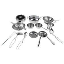 18Pcs Pretend Play Stainless Steel Stove Bowl Dish Real Cooking Tool Set Toy