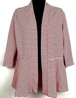 Kim Rogers women's open front jacket size Small red and white striped 3/4 sleeve