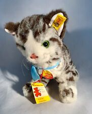 """Steiff-""""Sissi� Cat-Gray/Brown Tabby-Button Tag-West Germany-Vintage-Large Size"""
