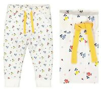 MOTHERCARE Girls Baby Joggers White Yellow Floral Lounge Tracksuit Bottoms NEW