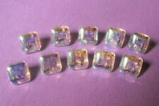 8  vintage clear glass buttons with sheer, iridescent lustre to top 1 cm. square