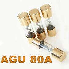4x Agu Fuse 80A Amp Car Carhifi Car Glass Fuse Gold Plated 4er New