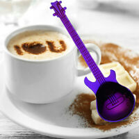 Stainless Steel Guitar Spoons Rainbow Coffee Tea Spoon Flatware Drinking Tool FT