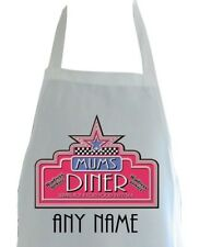PERSONALISED MUMS AMERICAN DINER PRINT SOFT POLYESTER APRON ADULTS KITCHEN