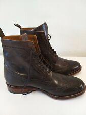 Pierre Cardin Size 10 Boots Brogues Dark Brown Ankle High Biker