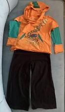 Girls Set Gap Black Pants DaNang Orange-Saffron Long Sleeve Hoodie100% Cotton S4