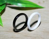 Set Keramik Ring Fingerring Weiß Schwarz 2mm