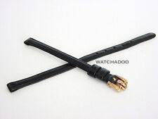Vintage Omega 6mm Black Leather Watch Strap Band w/ Logo Solid Rose Gold Buckle